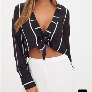 PrettyLittleThing Black Tie Front Cropped